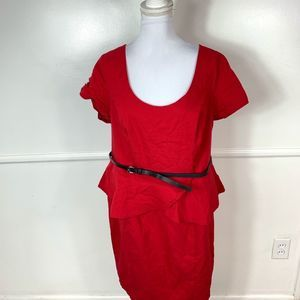 Torrid Red Peplum Belted Dress Womens 20